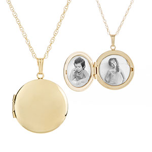 Gold Filled Rounded 2 Pic Personalized Locket Necklace