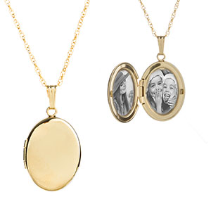 14K Gold Oval Style 2 Pic Engraved Locket Necklace