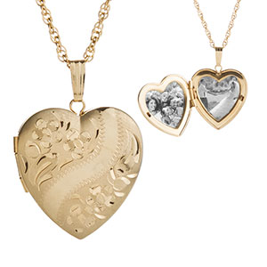 Amelia 14K Gold Heart Engraved Locket