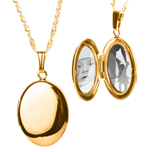 14K Gold Filled Oval Personalized Locket Necklace