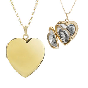14K Gold Filled 4 Photo Heart Engraved Locket Necklace