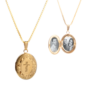 14K Gold Ornate Engraved Locket with Cross