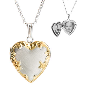 Sterling Silver and Gold Personalized Locket for Women