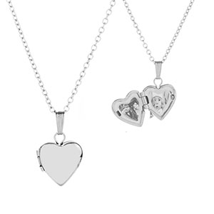 Sterling Silver Baby Girl Heart Engraved Locket