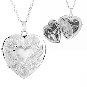 Sterling Silver 1 In Heart 4 Photo Personalized Locket