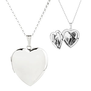 Polished Silver Personalized Locket in Heart Shape