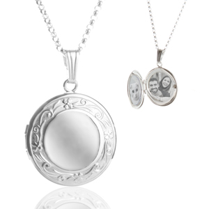 Amy Silver Filigree Border Engraved Locket