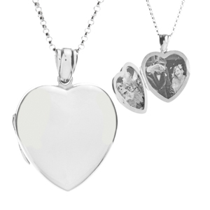 Premium Silver Heart 2 Pic Engraved Locket Necklace