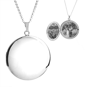 Ellen Silver Engraved Locket Necklace