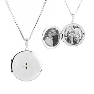 Silver Diamond Studded 2 Pic Engraved Locket
