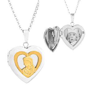 Silver & 14K Gold Mom & Child Engraved Locket Necklace
