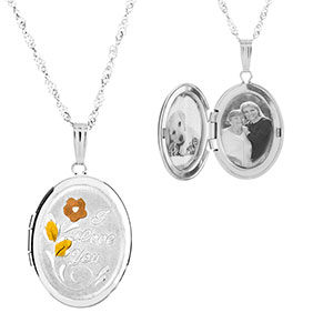 I Love You Sterling Silver 2 Picture Engraved Locket