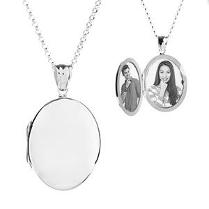 Premium Sterling Silver Oval Engraved Locket Necklace