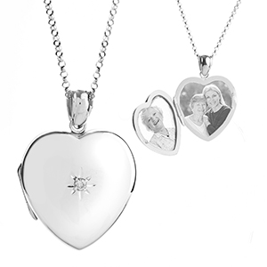 Diamond Center Sterling Silver Engraved Locket Necklace