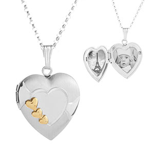 Accented Sterling and Gold Hearts Engraved Locket