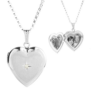 Diamond Blossom Silver Heart Engraved Lockets