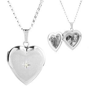 Diamond Blossom Silver Heart Engraved Lockets