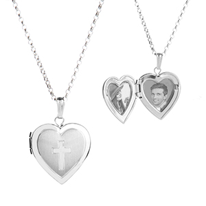 Cross My Heart Sterling Silver Personalized Lockets