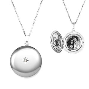 Diamond Accent Sterling Silver Personalized Locket Necklace
