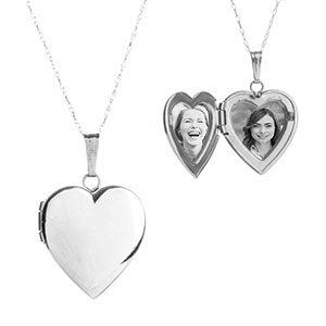 14K White Gold Petite Engraved Locket Necklace