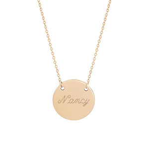 New Round Gold Engraved Necklace