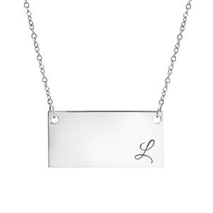 New Silver Personalized Bar Necklace for Her