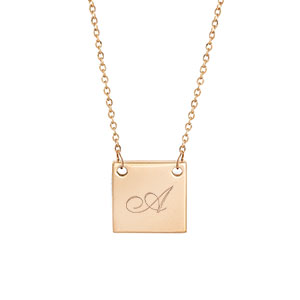 New Square Gold Engraved Necklace