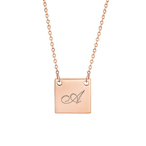 New Square Rose Gold Engraved Necklace