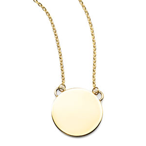 Nyx Round Engraved Gold Necklace