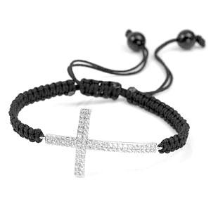 Sterling Silver Crystal Lined Cross Braided Bracelet
