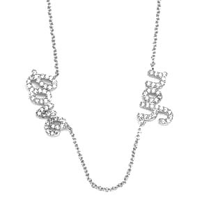 Love You Crystal Lined Sterling Silver Necklace