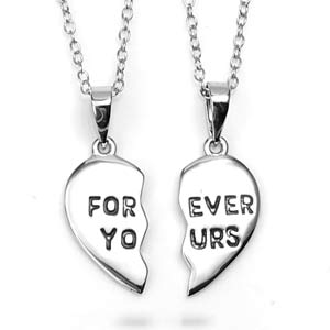 Forever Yours Pair of Sterling Silver Split Heart Necklaces