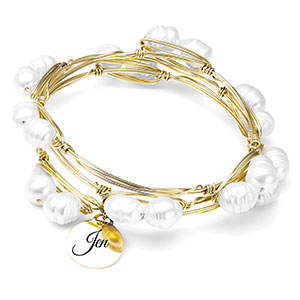 Pearl Stacked Bracelet with Charm Small