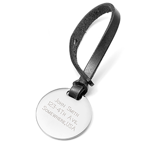Personalized Black Leather Bag Tag
