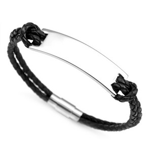 Personalized Black Leather ID Bracelet
