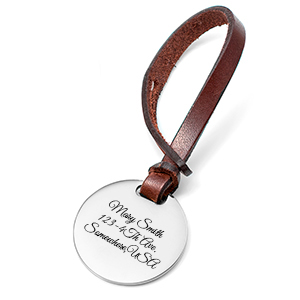 Personalized Brown Leather Bag Tag