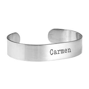 Personalized Brushed Silver Cuff Bracelet Large