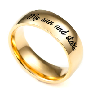 Personalized Gold Band Engraved Ring