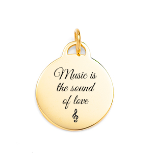 Personalized Gold Round Charm