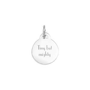 Personalized Petite Silver Round Pendant or charm 1/2 Inch