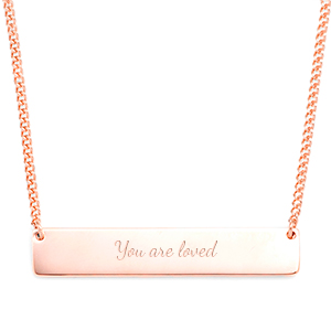 Personalized Rose Gold Handwriting Bar Necklace