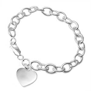 Personalized Sterling Silver Heart Charm Bracelet 7.25 In