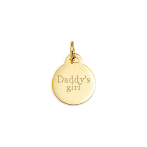 Petite Gold Round Engravable 1 1/2 Inch Charm