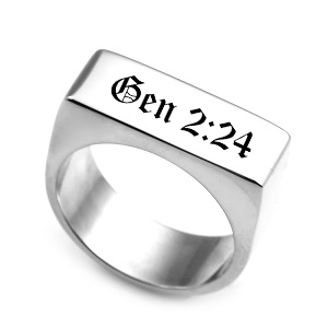 Polished Steel Flat Top Engraved Ring