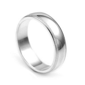 Sterling Silver 5mm Milgrain Band Ring  Size 4