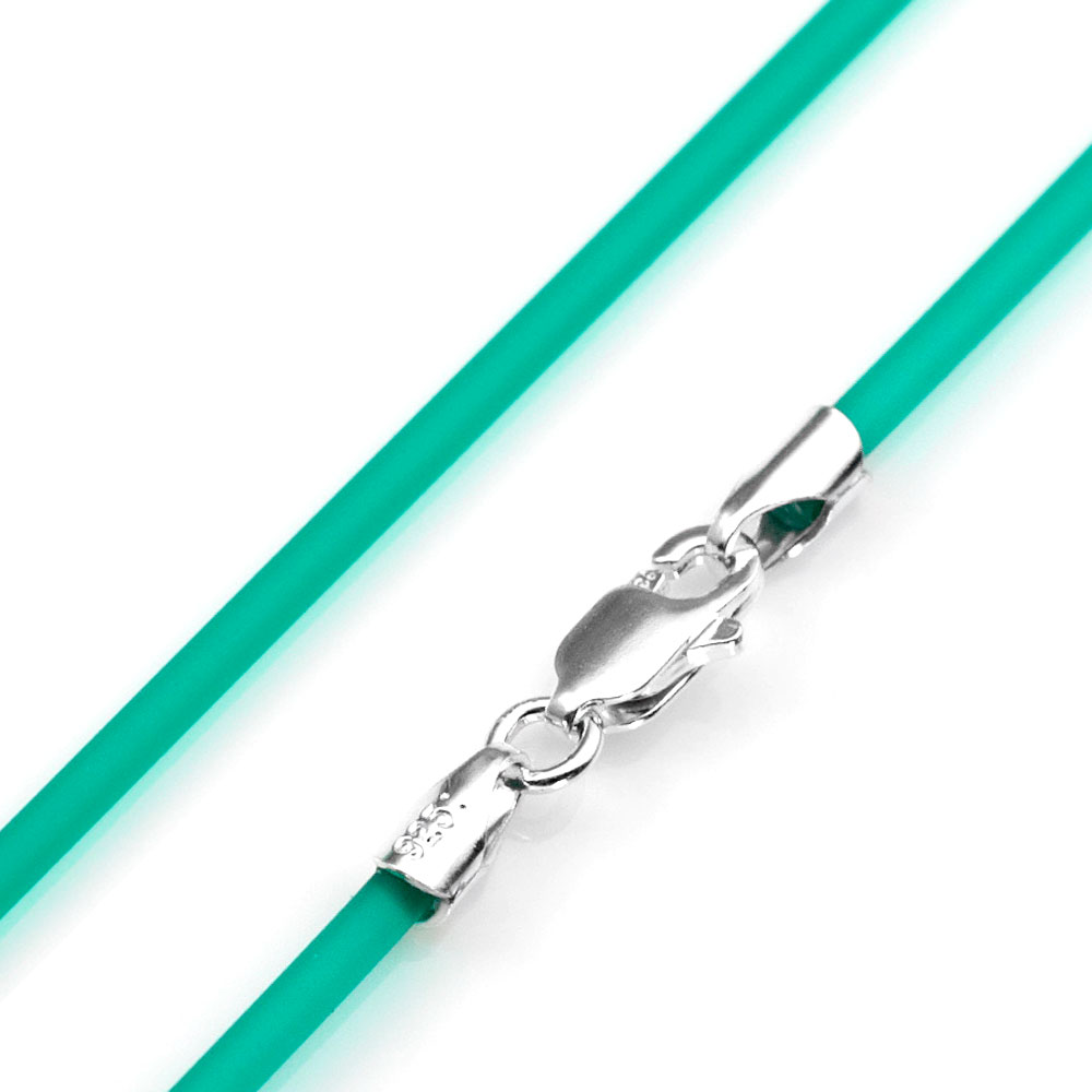 2mm Emerald Rubber Necklace & Sterling Silver Clasp 16 Inch