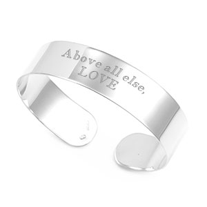 Personalized Sterling Silver Wide Cuff Bracelet for Her
