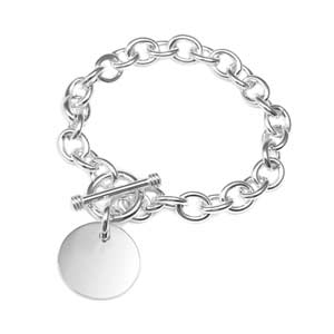 Personalized Sterling Silver Charm Toggle Bracelet 7 1/2 In