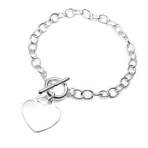 Personalized Sterling Silver Heart Charm Bracelet
