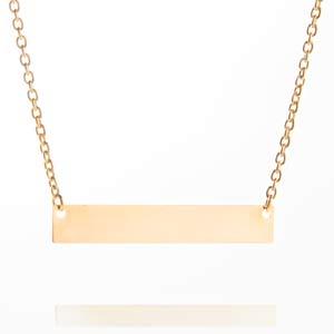 Engravable Gold Bar Necklace